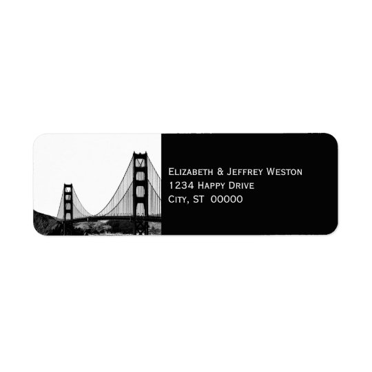 San Francisco Skyline Etched Look Address Label