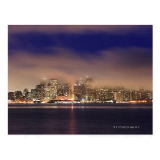 San Francisco skyline in fog at night. Postcard
