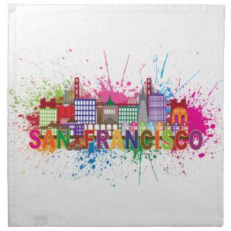 San Francisco Skyline Paint Splatter Illustration Cloth Napkin