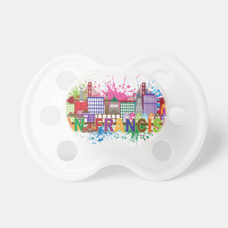 San Francisco Skyline Paint Splatter Illustration Pacifier