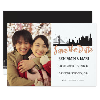 San Francisco Skyline Rose Gold Save the Date Card