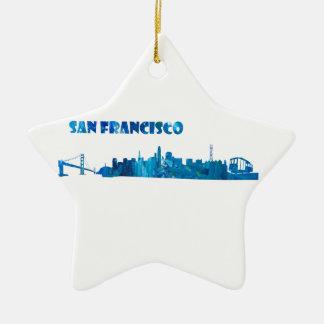 San Francisco Skyline Silhouette Ceramic Ornament