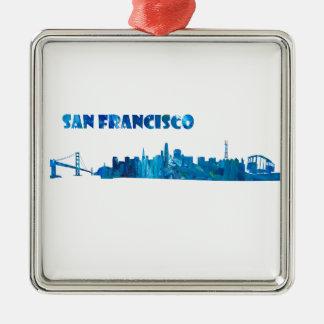 San Francisco Skyline Silhouette Metal Ornament