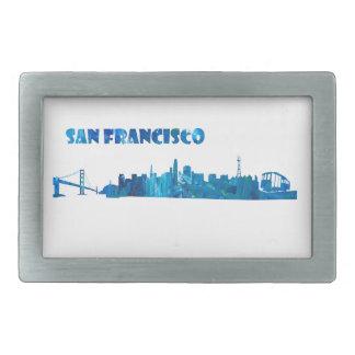 San Francisco Skyline Silhouette Rectangular Belt Buckle