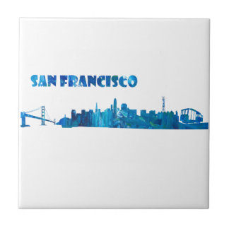 San Francisco Skyline Silhouette Tile