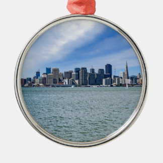 San Francisco Skyline Silver-Colored Round Ornament