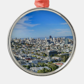 San Francisco Skyline Silver-Colored Round Ornament