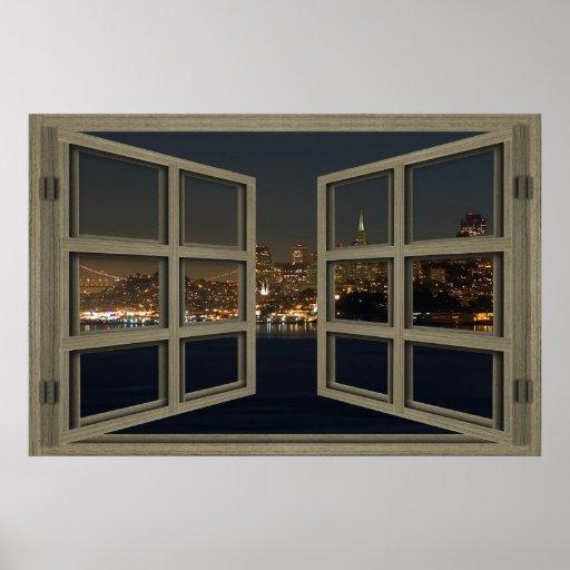 San Francisco Skyline Thru An Open Window Poster
