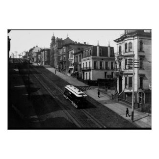 San Francisco Street with Cable Car 1901 Poster