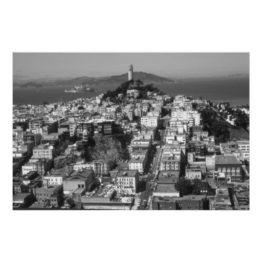 San Francisco Telegraph Hill – Black & White Photo Poster