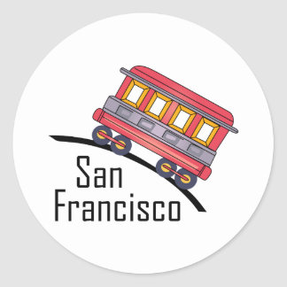san francisco trolley classic round sticker