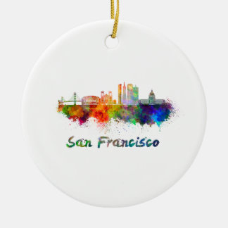 San Francisco V2 skyline in watercolor copy Ceramic Ornament