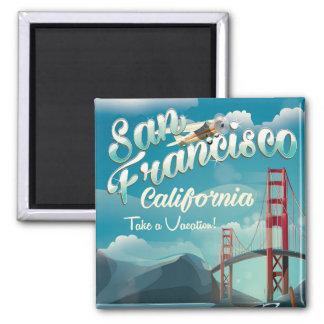 San Francisco Vacation vintage travel poster Square Magnet