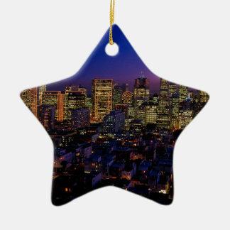 San Fransico Nighjt Skyline Ceramic Ornament