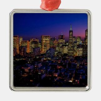 San Fransico Nighjt Skyline Metal Ornament