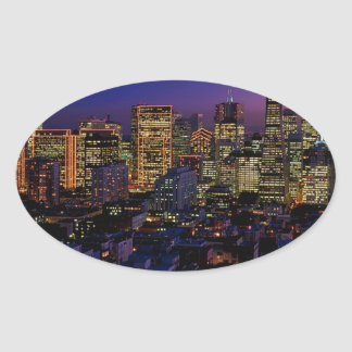 San Fransico Nighjt Skyline Oval Sticker