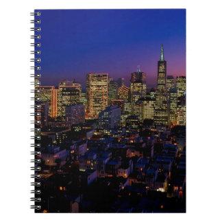 San Fransico Nighjt Skyline Spiral Notebook