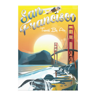 "San Fransisco ""Travel by air"" Golden Sunset Canvas Print"