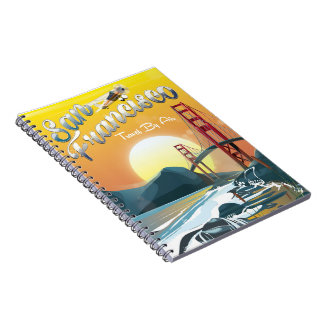 "San Fransisco ""Travel by air"" Golden Sunset Spiral Note Books"
