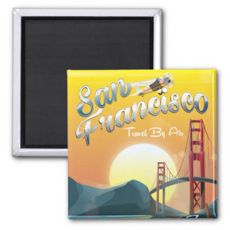 """San Fransisco """"Travel by air"""" Golden Sunset Square Magnet"""