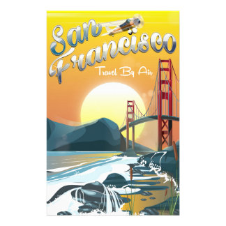 "San Fransisco ""Travel by air"" Golden Sunset Stationery"