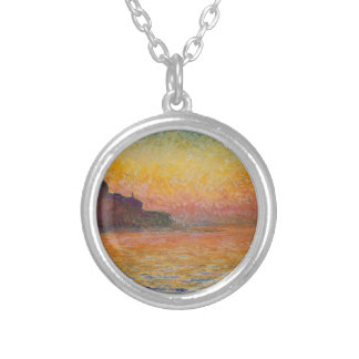 San Giorgio Maggiore at Dusk - Claude Monet Silver Plated Necklace