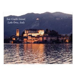 San Giulio Island, Lake Orta, Italy, at twilight Postcard