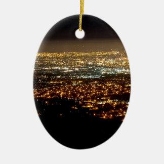 San Jose Night Skyline Ceramic Ornament