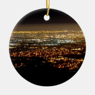 San Jose Night Skyline Ceramic Ornament