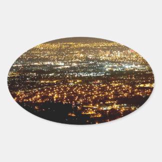 San Jose Night Skyline Oval Sticker