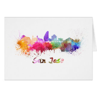 San Jose skyline in watercolor Card
