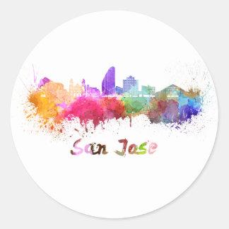 San Jose skyline in watercolor Classic Round Sticker