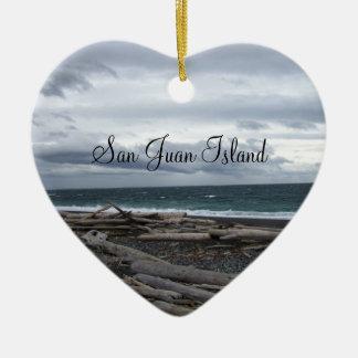 San Juan Island Ceramic Heart Ornament