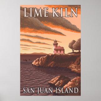 San Juan Island, WA - Lime Kiln Lighthouse Poster
