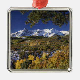 San Juan Mountains and Aspen trees in fallcolor Metal Ornament