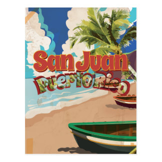 San Juan Puerto Rico Vintage Travel Poster Postcard
