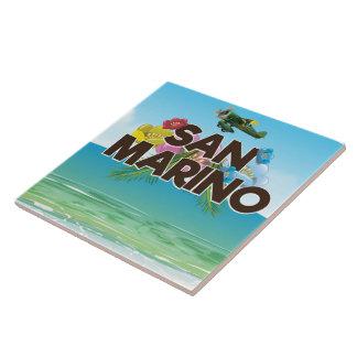 San Marino Beach travel poster Ceramic Tile