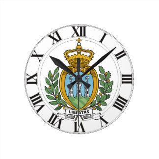 San Marino Coat of Arms Round Clock