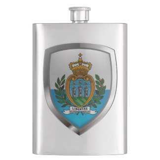 San Marino Metallic Emblem Hip Flask