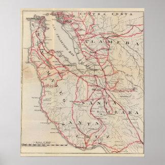 San Mateo, Santa Cruz, Santa Clara, Alameda Poster