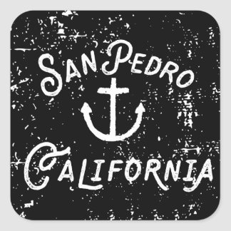 San Pedro Los Angeles California Anchor Vintage Square Sticker