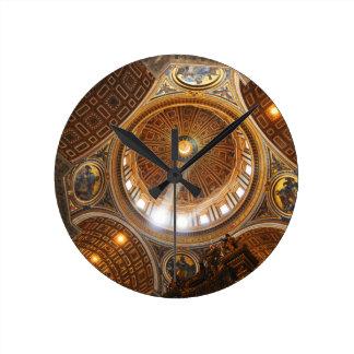 San Pietro basilica interior in Rome, Italy Round Clock