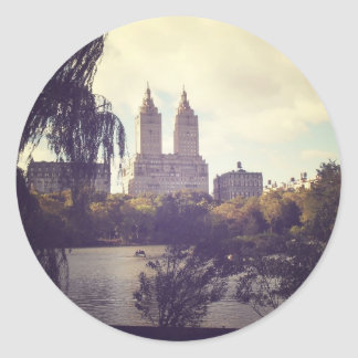 San Remo and The Central Park Lake, New York City Round Sticker