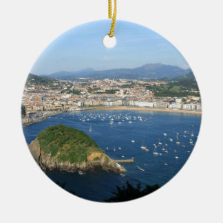 San Sebastian Basque Country Spain scenic view Round Ceramic Ornament