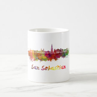 San Sebastian skyline in watercolor Coffee Mug