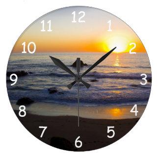 San Simeon Sunset 4 Large Clock