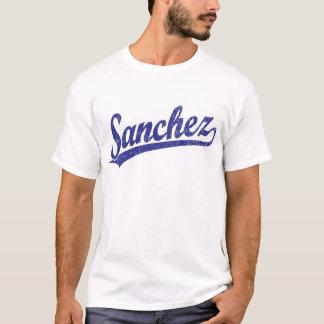 Sanchez script logo in blue T-Shirt