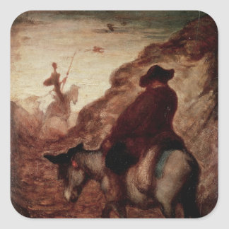Sancho and Don Quixote, 19th century Square Sticker