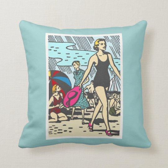 sand-and-beach_vintage-image VINTAGE FASHION STYLE Throw Pillow