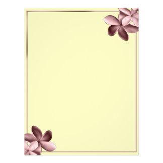 Sand and Pink Plumeria Flower Custom Letterhead